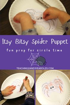 This toddler spider activity combines fine motor with literacy, as the children use their own puppets to act out the Itsy Bitsy Spider! #toddler #fall #autumn #circletime #spider #puppet #music #printable #finemotor #2yearolds #teaching2and3yearolds Fall Activities For Toddlers, Gross Motor Activities, Halloween Activities, Hands On Activities, Movement Activities, Halloween Ideas, Preschool Fingerplays, Toddler Preschool, Preschool Crafts