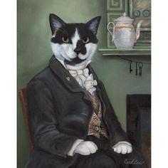 Sir Simon of the Red Lion Inn  8x10 print, Cat Art, Vintage Cat, Victorian Cat