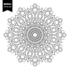 Illustration about Monochrome ethnic mandala design. Mandala Art, Mandala Doodle, Mandalas Painting, Mandalas Drawing, Mandala Pattern, Dot Painting, Quote Coloring Pages, Pattern Coloring Pages, Mandala Coloring Pages