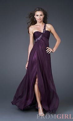 Purple One Shoulder Dress by La Femme.  Really loving this color and the open back of the dress. $298.00