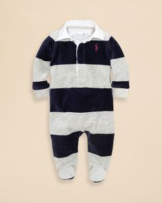 e95c69128f69 Ralph Lauren Childrenswear Infant Boys  Velour Rugby Stripe Footie .