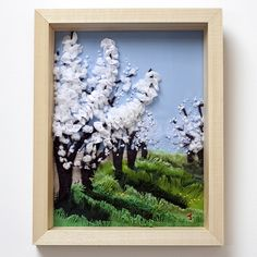 White Cherry Blossom - Hand Embroidered Textile Landscapes by Jessica Coote. Buy an original textile artwork as a unique gift for someone special. Tent Stitch, White Cherry Blossom, Rare Birds, Gifts For Nature Lovers, Apple Tree, Textile Artists, Native Plants, Hand Coloring, Fiber Art