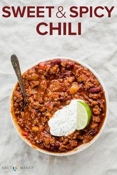 THE BEST Sweet and Spicy Chili! This homemade chili is loaded with delicious meat and the perfect blend of spices to deliver an award winning chili recipe! #saltandbaker #chili #sweetandspicy #soup via @saltandbaker