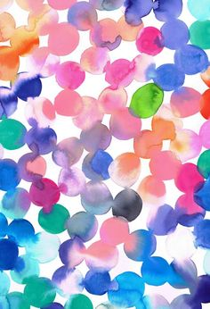 Emily Green Tangerine, Pink and Pacific Blue Watercolour Spots Giclee Print… Watercolor Clouds, Watercolor Print, Watercolour Painting, Multicolor Wallpaper, Illustrations, Illustration Art, Pacific Blue, Cute Wallpapers, Cool Art