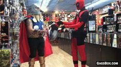 """hentai-ass: """" fellmoon: """" tobiasxva: """" I love accurate deadpool cosplay gifs. This is why we need a real R rated Deadpool movie. """" Protip: It IS Deadpool. He comes through the fourth wall to go to. Deadpool Cosplay, Deadpool Funny, Deadpool And Spiderman, Deadpool Movie, Dc Memes, Funny Memes, Hilarious, Funny Quotes, Avengers"""