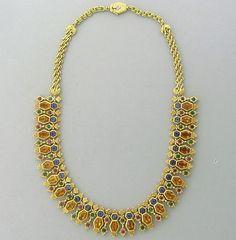 Buccellati Citrine, Emerald, Iolite, and Ruby Necklace