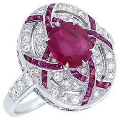 Art Deco 2.00ct Oval Cut Ruby 0.40ct Round Cut Diamond 18k White Gold Ring