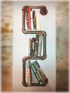 Custom handmade reclaimed steel pipe bookshelf by atgKC on Etsy, $80.00