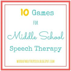 Board games for speech therapy -- Word of Mouth: 10 Games for Middle School Speech Therapy Speech Activities, Speech Therapy Activities, Speech Language Pathology, Speech And Language, Language Activities, Articulation Activities, Middle School Activities, Word Of Mouth, Our Lady