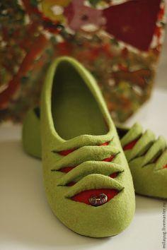 """Купить """" Жабер"""" валяные тапочки-балетки - ярко-зелёный, салатовый цвет, весна, яркий"""