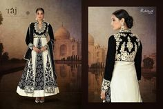 Very Classy and Rich Black and White Velvet Front open straight suit with back yoke & printed long gown with Heavy Hand and Machine Work. Comes along with Santoon Bottom and Inner and Flock Printed Dupatta.