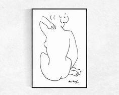 Female Figure Print Modern Minimalist Print Nude Sketch