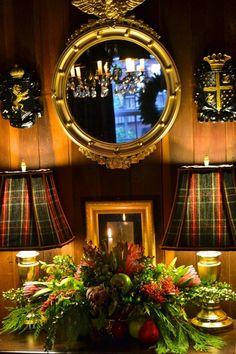 Tartan Plaid Lampshades and Fish-eye Mirror Tartan Decor, Tartan Plaid, Scottish Decor, Tartan Christmas, Christmas Vignette, Christmas Note, English Country Decor, Equestrian Decor, Equestrian Shop