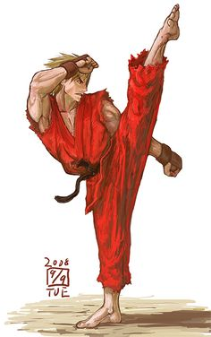 sheet street fighter by mr. Street Fighter Comics, Ken Street Fighter, Street Fighter Tekken, Street Fighter Characters, Karate Shotokan, Ken Masters, Martial, Fighting Poses, King Of Fighters