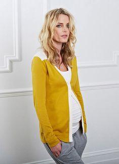 Grey pants, mustard cardigan, white top, maternity style