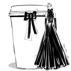 Saint Laurent Designer coffee to-go by Megan Hess