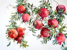 Pomegranate, art by Suren Nersisyan Watercolor Fruit, Fruit Painting, Watercolor Flowers, Watercolor Paintings, Pomegranate Art, Pomegranate Drawing, Grenade, Unique Paintings, Fruit Art