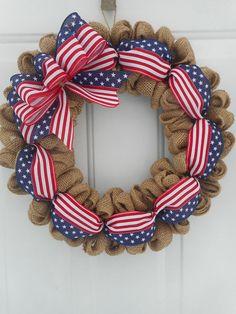 Patriotic wreath Patriotic burlap wreath American flag ribbon