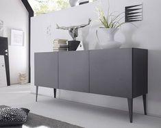 Places of Style Sideboard »Zela«, 3-türig, mit Füßen, Breite 184 cm in Front/Korpus: Anthrazit Lack matt im QUELLE Online Shop