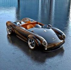 Porsche 550 Spyder with central driving position Porsche 550, Porsche Carrera, Porsche Cars, Carrera Cars, Porsche Roadster, Classic Sports Cars, Classic Cars, Classic Trucks, Vintage Porsche