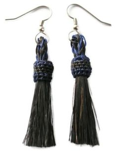 Navy and Black Horsehair Tassell Earrings 2 Made in the USA Blue Skies Plus, http://www.amazon.com/dp/B00BRN8VX2/ref=cm_sw_r_pi_dp_FK0Arb0RYWE3W