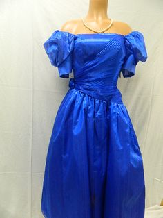 Size 10 Vintage Blue Dress w/ Big Sleeves Our Price - 9.99 August 2014