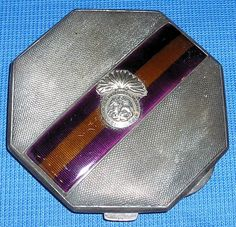 Sterling silver & enamel officers wifes powder compact, R.NORTHUMBERLAND.FUS