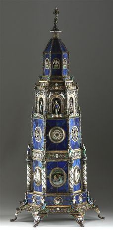 c. 1885 Hermann Boehm, Viennese silver-gilt, champleve enamel and lapis lazuli tower clock.  1B.JPG