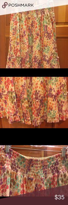 Anthropology Boho floral skirt Anthropology brand Fei - gorgeous Boho floral skirt. 100% cotton. Elastic waist shin length skirt with feminine ruffle bottom. Anthropologie Skirts Midi