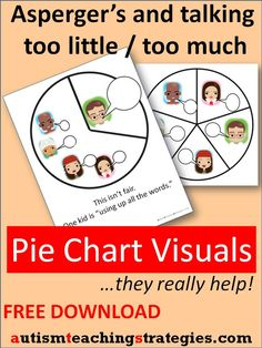 Children with Asperger's and other autism spectrum disorders can find it really confusing to know how much to say--or how little--in group conversation or classroom situations. Pie chart visuals can really help. Several free downloads are provided here.