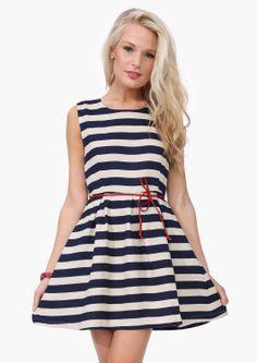 Navy + white striped dress