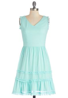 If Ever You Dream Dress - Chiffon, Woven, Mid-length, Blue, Solid, Ruffles, Casual, Sundress, A-line, Tank top (2 thick straps), Better, V N...