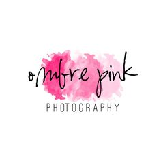 Pink Ombre Watercolor Logo and Watermark
