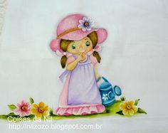 fralda com pintura de menina e regador