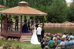 Beautiful gazebo water front wedding site at the Preserve at Bingham Hill, Fort Collins, Colorado.
