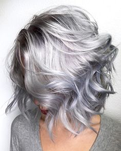 """3,197 Likes, 132 Comments - Seattle Pravana Hair Team (@rossmichaelssalon) on Instagram: """"Silver Lob Who would love to rock this look? By Michael & Melody Using @pravana And treated…"""""""