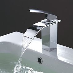 Contemporary Cambered Spout Waterfall Bathroom Sink Taps