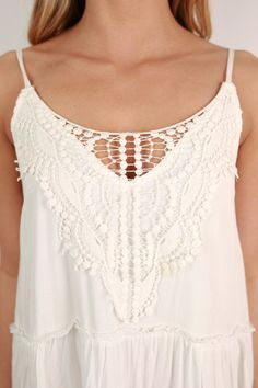 Find Me At The Festival Lace Tank Dress in White