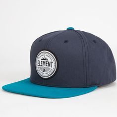 Element Matter snapback hat. Element patch logo on front. Contrast bill and top pin. Adjustable snapback with small Element tag. Imported.