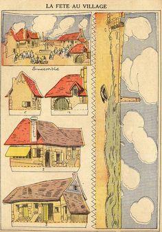 fetevillage1 by pilllpat (agence eureka), via Flickr 3d Paper, Paper Toys, Paper Crafts, Vintage Paper, Vintage Toys, Cardboard Box Houses, Bathroom Mural, Paper Puppets, Toy Theatre