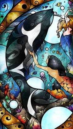 S #StainedGlassMermaid