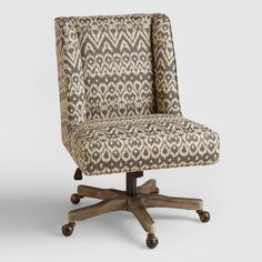 Merveilleux Driftwood Ikat Ava Upholstered Office Chair: Blue/Gray   Fabric By World  Market