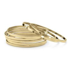 Set of 7 Bangle Bracelets in (€21) ❤ liked on Polyvore featuring jewelry, bracelets, jewelry & watches, yellow, gold hinged bracelet, unisex jewelry, gold bracelet bangle, yellow gold bangle bracelet and yellow gold jewelry