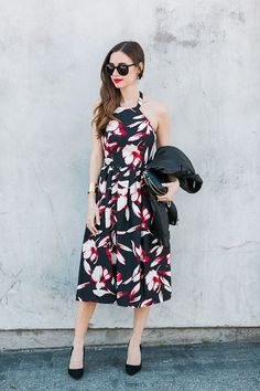 hibiscus print floral dress M Loves M