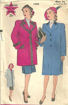 Hollywood 1450 Vintage 1940s Sewing Pattern by studioGpatterns, $14.50