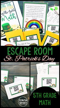 Need a fun escape room for St. Patrick's Day? Look no further! This  multiplying and dividing fractions game is sure to engage even your most reluctant learners. Your fifth graders will be learning without even realizing it. Escape rooms are great for team-building, critical thinking, and reviewing skills. This math activity is a fun additions to your classroom escape rooms collection.