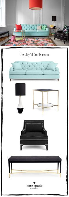 how to: zone your living room. shop our debut home collection, featuring the tufted sofa, neale table lamp, duncan side table, ivory piped chair, and georgia bench. #makeyourselfahome