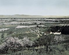 """Silicon Valley"" c1880, viewing across the Bay towards Mission Peak, roughly overlooking the future home of the future ""Apple Ring"" world HQ.  Hand-tinted black and white photograph by yours truly."