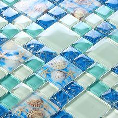 Beach style sea blue glass tile mother of pearl resin chips green aqua glass mosaics wall art kitchen backsplash bathroom design