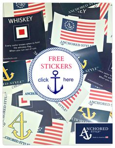 Free Anchored Style Stickers with every online purchase or by joining our mailing list. Just click on FREE STICKERS anchoredstyle.com #stickers #preppy #nautical